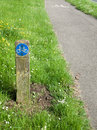 Bicycle pathway signposted urban cycle way in urban uk Royalty Free Stock Photos