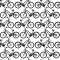 Bicycle pattern design black and white seamless with bicycles Stock Images