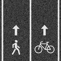 Bicycle and pedestrian paths ilustration Royalty Free Stock Photos