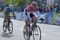 Bicycle race horizon park in kiev ukraine may zsolt der hungary center and sergey grechyn ukraine on the finish of the racing Stock Photo