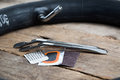 Bicycle rapair kit with tube out of focus Royalty Free Stock Photo