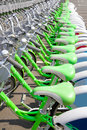 Bicycle rent in a travel destination city Royalty Free Stock Photo