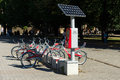 Bicycle rental company deutsche bahn german railways berlin september autonomous solar panels work machine to pay rent on Stock Image