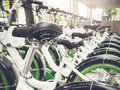 Bicycle rental row of bikes park outdoor urban public facility city Stock Photography