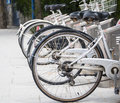Bicycle rental service promoting clean transport Stock Photo