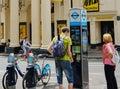 stock image of  Bicycle Rental Street Kiosk in West End, London