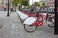Bicycle rental view of public in barcelona spain Royalty Free Stock Photography