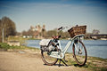 Bicycle at the rhine retro bike standing in front of view of medieval romanic cathedral and river speyer germany Stock Image