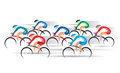 Bicycle road racers group of racing cyclists vector colorful illustration Stock Images