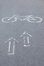 Bicycle road sign and arrows Stock Photos