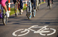 Bicycle road sign on asphalt Royalty Free Stock Photography