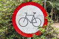Bicycle road sign in a park Stock Photos