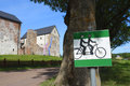 Bicycle route in aland islands with fragment of bomarsund castle leftward Stock Photos