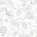 Bicycle seamless pattern with retro vector Stock Images