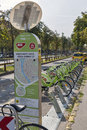 Bicycle Sharing Service Bubi Mol Bike in Budapest, Hungary. Royalty Free Stock Photo