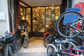 Bicycle shop display window of a bike in rome italy Stock Photo