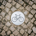 Bicycle sign on bicycle lane a Royalty Free Stock Photos