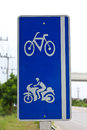 Bicycle sign for bicycles and motorcycles Stock Photo
