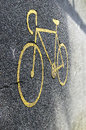 Bicycle sign on lane Royalty Free Stock Images