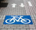 Bicycle sign lane in a city area Royalty Free Stock Photography