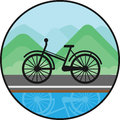 Bicycle sign on nature background. Black icon
