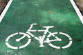 Bicycle sign on the road, bike lane Royalty Free Stock Photo