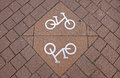 Bicycle sign on the road in gdansk poland Royalty Free Stock Image