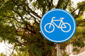 Bicycle sign with symbol Stock Photo