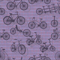 Bicycle silhouette seamless pattern illustration purple background Stock Image