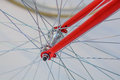 Bicycle spoke detail closeup detail view with hub and spokes of one wheel Stock Images