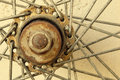 Bicycle spoke wheel details of vintage add grain Stock Image