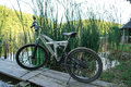 Bicycle sport on nature near the river. Royalty Free Stock Photo