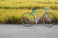 Bicycle standing on the road vintage rice field background Royalty Free Stock Image
