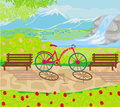 Bicycle stands in the park between the benches illustration Stock Image