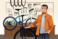 Bicycle store owner in his bike repair shop a vector illustration of Stock Images