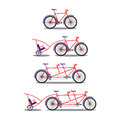 Bicycle and tandem bicycle various kinds illustration elements for design Royalty Free Stock Photography