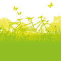 Bicycle and tandem in spring an fun the nature Royalty Free Stock Photo