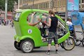 Bicycle taxi in cologne drives waiting for passengers Royalty Free Stock Photos