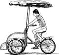 Bicycle taxi vector drawing of the urban rickshaw Royalty Free Stock Photos