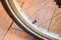 Bicycle tire valve close Royalty Free Stock Photo