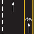 Bicycle trail route sign on the road and arrows pointing direction vector illustration Royalty Free Stock Image