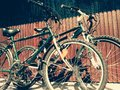 Bicycle two parked bicycles Royalty Free Stock Photography
