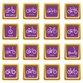 Bicycle types icons set purple square vector