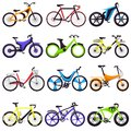 Bicycle vector bikers cycle biking transport with wheels and pedals illustration bicycling set of bicyclist cycling