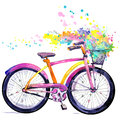 Bicycle. Watercolor bicycle and flower background. Hello Spring watercolor text. Royalty Free Stock Photo
