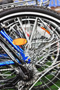Bicycle wheel close up as background Royalty Free Stock Images