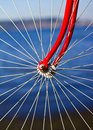 Bicycle wheel close up with the hub Royalty Free Stock Photo