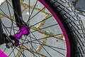 Bicycle wheel detail of the front to the bike Royalty Free Stock Photos
