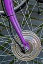 Bicycle wheel detail of the front wheels to the bike Royalty Free Stock Photo