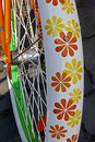 Bicycle wheel detail of the rear to the bike with nice floral design Stock Images